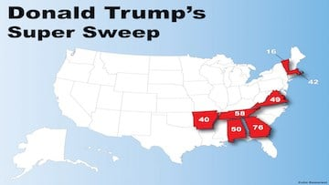 Donald Trump's seven state wins on Super Tuesday.