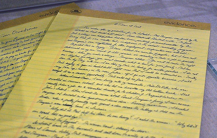 """Conroy hand-wrote all of his work because he never learned to type. The exhibit has his handwritten drafts from his well-known novel """"The Death of Santini"""" to his book turned movie """"The Prince of Tides."""""""