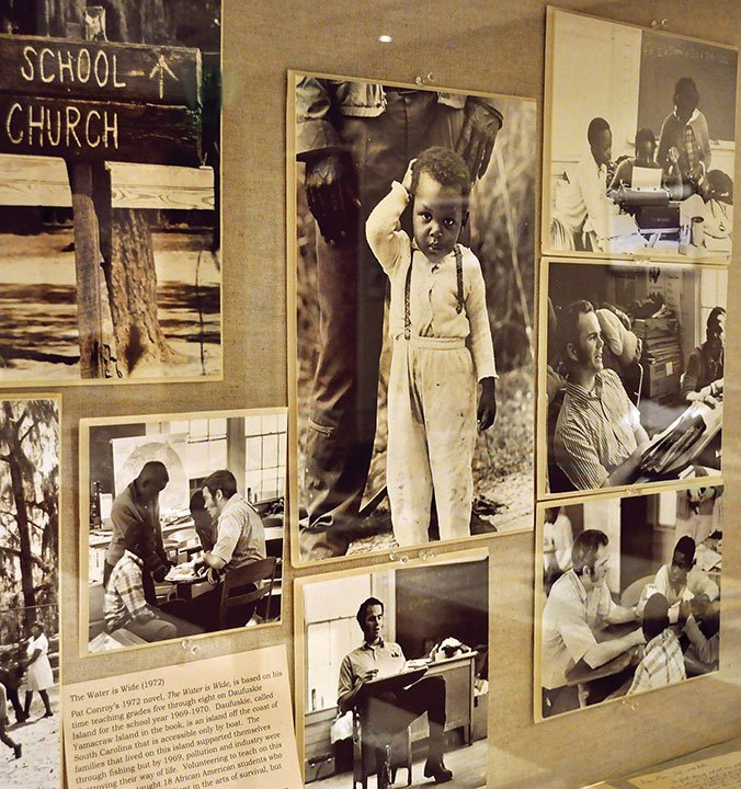"""The exhibit showcases Conroy's entire life and the work he did while living. Conroy was a teacher for underprivileged children on an island off South Carolina's coast, and he used his experience there to write """"The Water is Wide."""""""