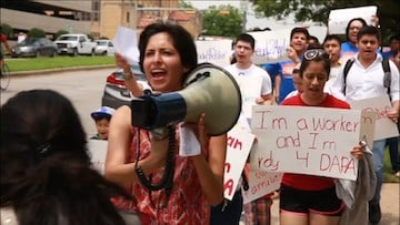 People protesting the court action challenging DACA in Texas.