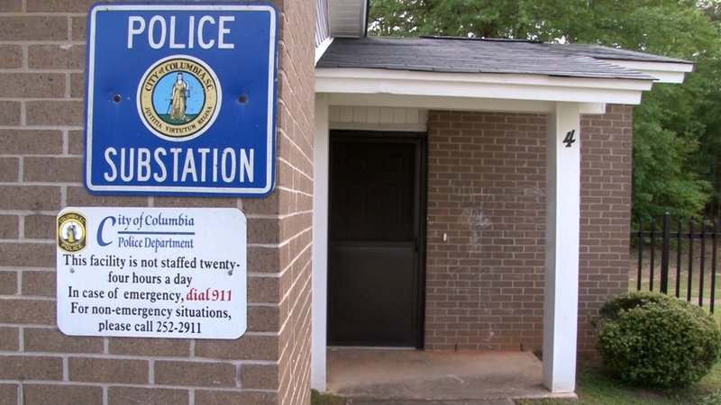 A police subsation sign in Hammond Village Apartments.