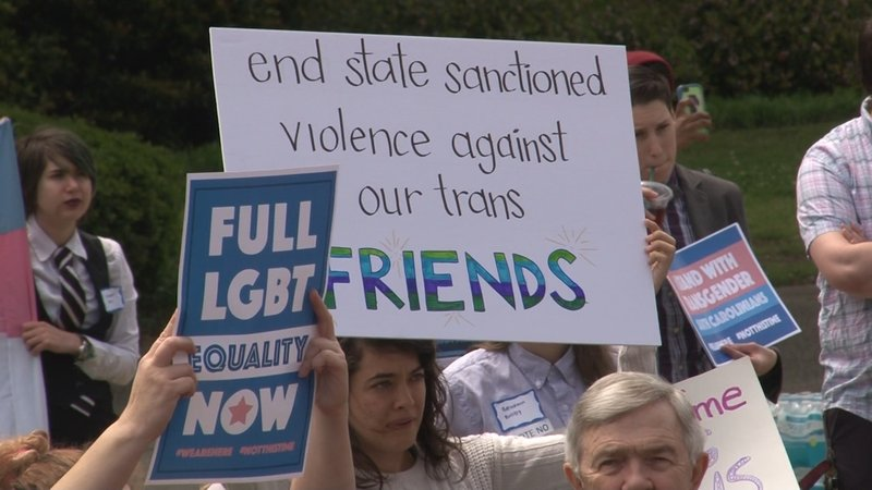 Protestors stood in solidarity as they argued against the proposed bathroom bill on the State Capital grounds.