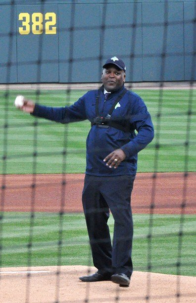 Columbia Mayor Steve Benjamin throws out the ceremonial first pitch at Spirit Communications Park. Sporting a Fireflies hat and jacket, he threw a strike with a GoPro camera strapped to his chest.