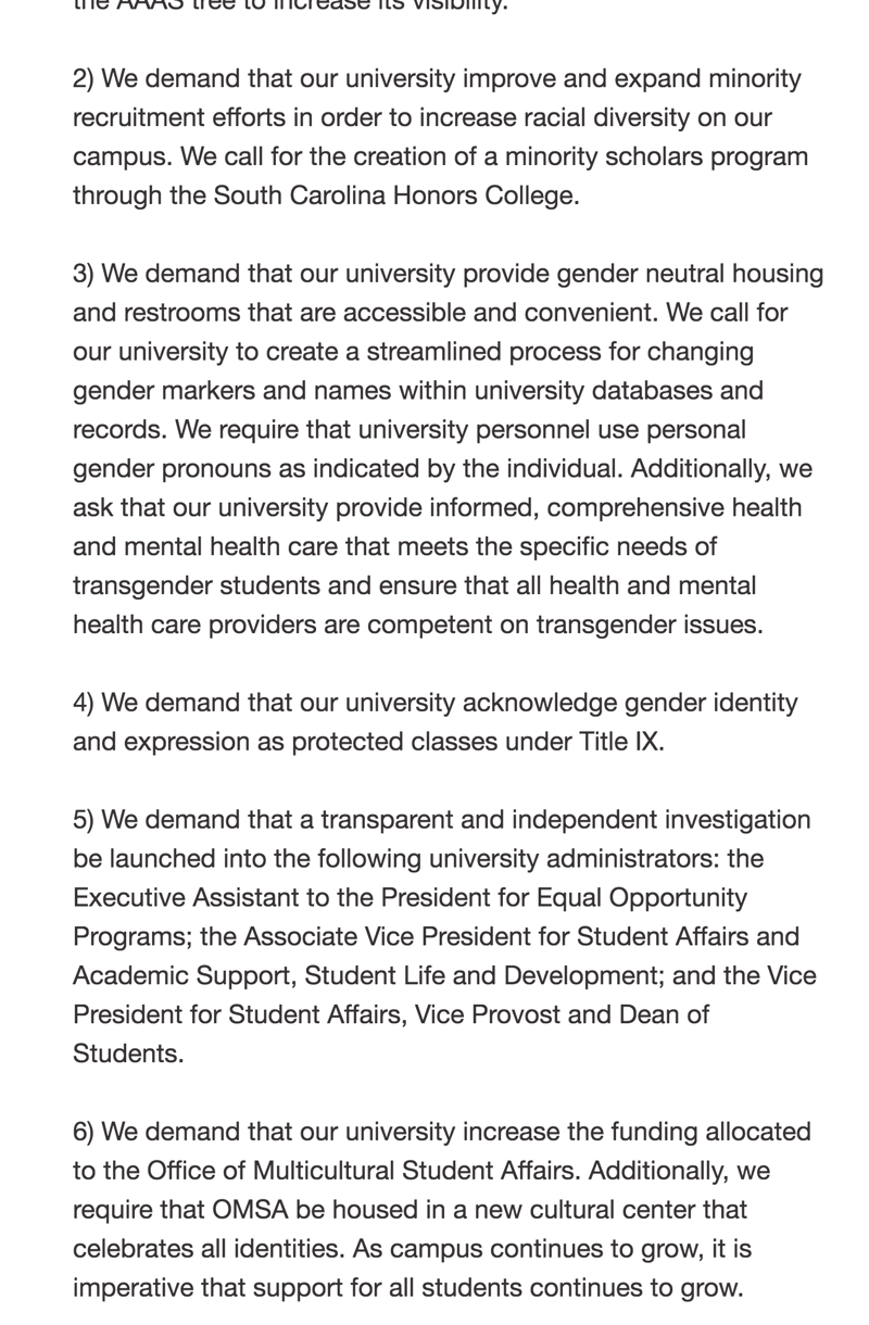 USC 2020 Vision created this list of demands highlighting key problems of student life on campus.