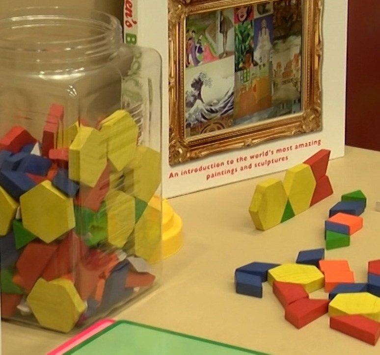 A special sensory room with blocks, coloring books and toys was created for the visitors.