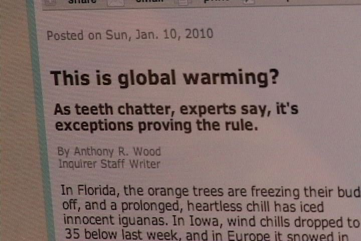 Many critics are using the cold winter to make an argument against global warming.