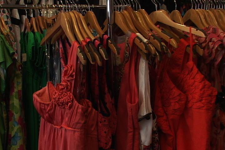 Bright colored dresses are popular spring break apparel.