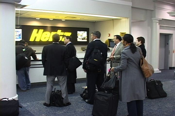 Passengers waited in line to rent cars at the Columbia Metropolitan Airport.