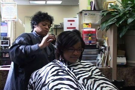 Genise Golf getting hair styled at Carolina Styles.