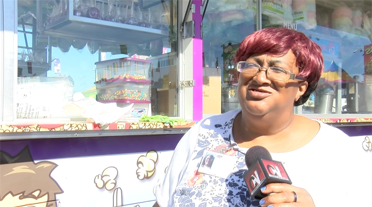 Virginia Simpkins' cotton candy booth caters one of the fair's favorite treats.