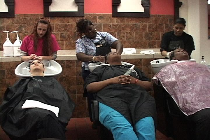 People lined up for $5 salon services, with all proceeds going to Cuts for Cancer