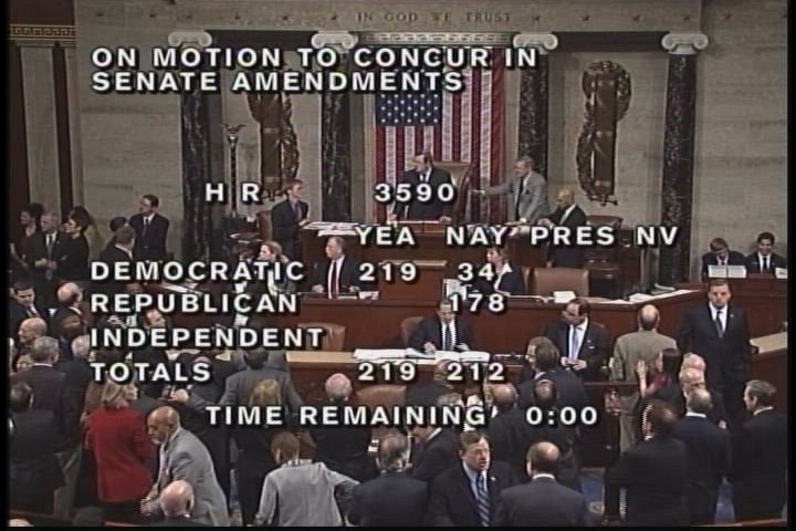 The Health Care Legislation Passed in the House with a Vote of 219-212