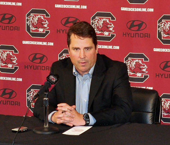 South Carolina head football coach Will Muschamp answers questions from the media before Saturday's game against the University of Massachusetts.