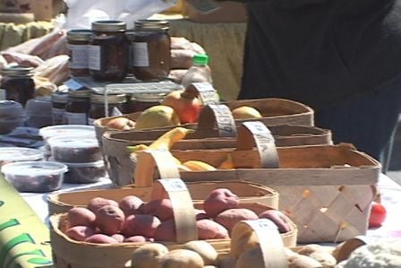 There are many locally grown fruits and vegetables available at the farmers market.