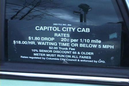 The cab fare rate of a $1.80 to start and 20 cents per mile has not gone up in over five years.