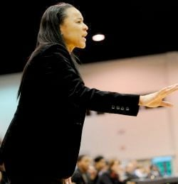 Coach Dawn Staley was viably unhappy in her press conference on March 30