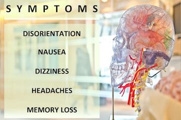 Common concussion indicators include disorientation, nausea, dizziness, headaches and memory loss.