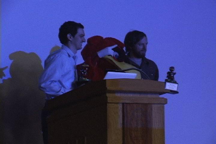 Cole Koehler accepts his Cocky Award for the Snack Attack Samurai Doritos commercial