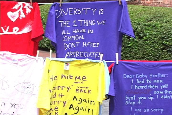 Shirts were displayed on Greene Street for Sexual health Awareness month