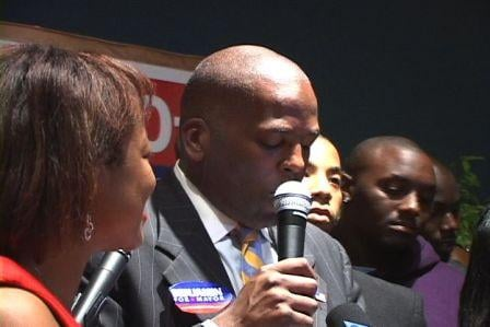 Steve Benjamin thanking his supporters last night at the Convention Center.