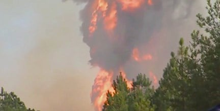 Flames from gas pipeline explosion in Shelby County, Alabama