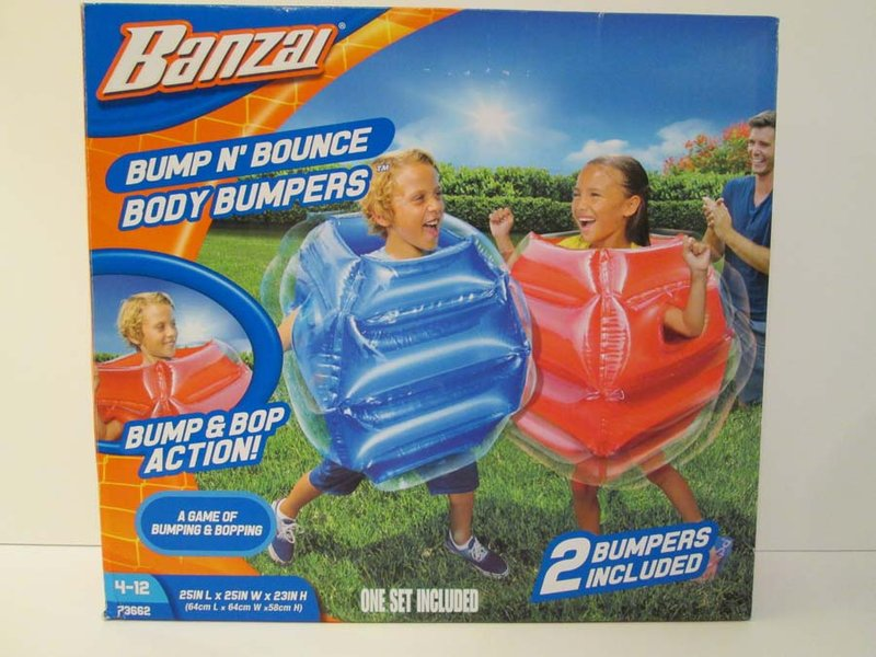 Banzai Bump N' Bounce Body Bumpers warn of serious injury or death on the packaging.