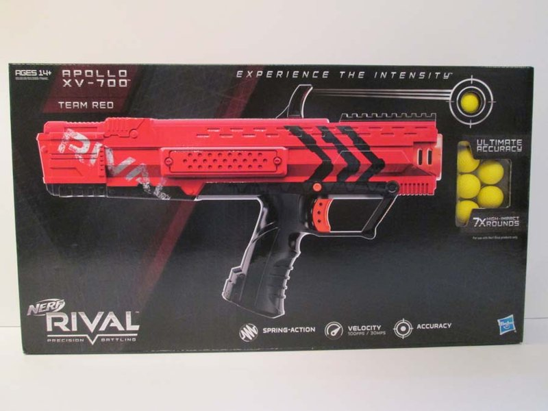 The Nerf Rival Apollo Xv-700 Blaster does not come with face/eye protection and could cause injury.