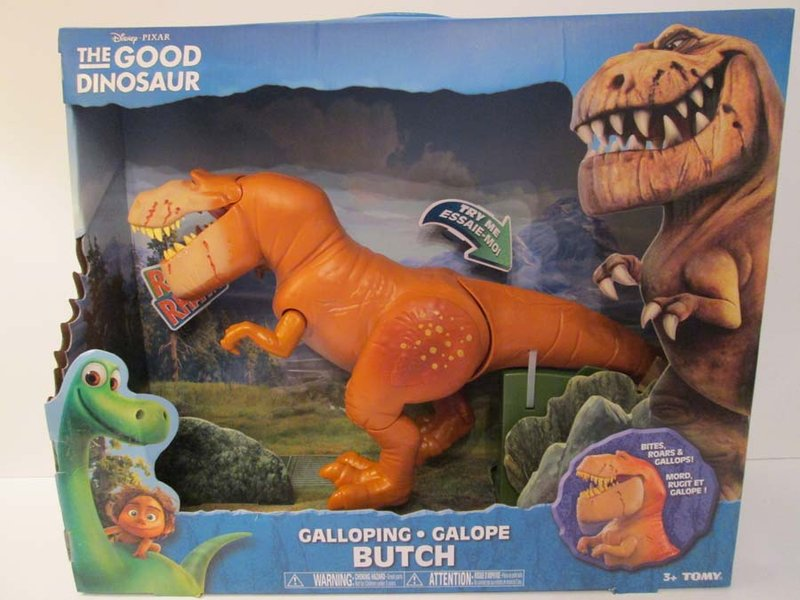 The Good Dinosaur Galloping Butch does warn of choking hazzards, but it does not warn about the sharp tail that could puncture a child's skin.