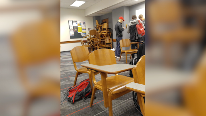 With little information to follow students waited in classrooms to keep shelter. Some stacked up chairs to barricade themselves.