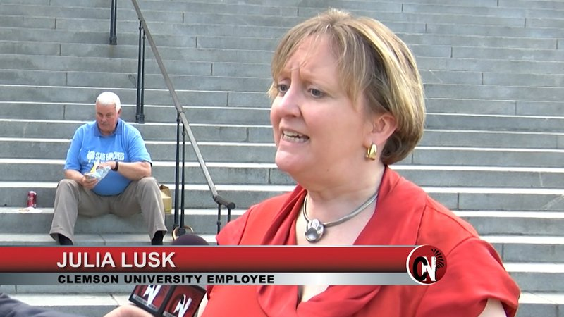 Julia Lusk is in favor of a bill to bring change to the pension system so that when she retires she will see her pension.