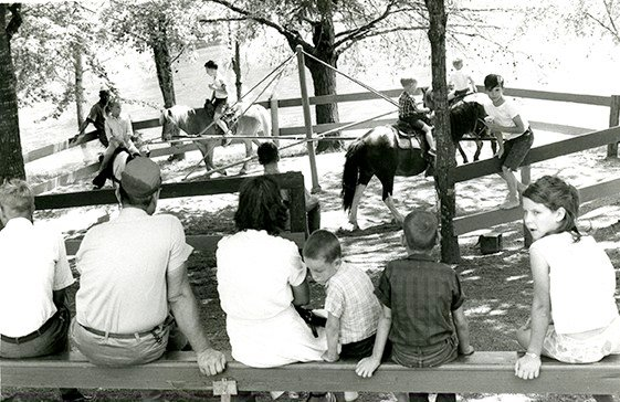Children enjoy pony rides at the park on May 1967. This opening weekend saw an estimated crowd of 7,500.