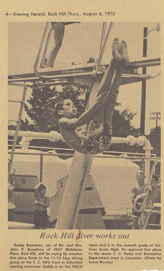 A young Roddy Broadnax performs a dive in 1970 at Springs. This newspaper clipping is a feature on Broadnax's 1st place finish in diving in South Carolina.