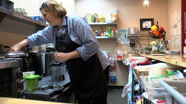 Stephie Bridgers cooks food for the cafe every single morning so that everything a customer buys is fresh and homemade.
