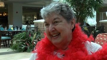 Resident Ella Pfaehler is the energy of the Valentine's festivity