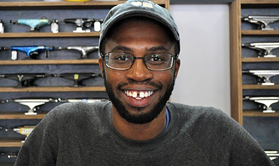 Andre Buchanan who works at Bluetile skate shop in Five Points says he isn't a big fan of President Donald Trump and deciding whether he is doing well in office is just based on your feelings about him in general.
