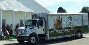 Harvest Hope's mobile food bank makes a recent delivery at Calvary Baptist Church in Pinewood. (Courtesy Harvest Hope.)