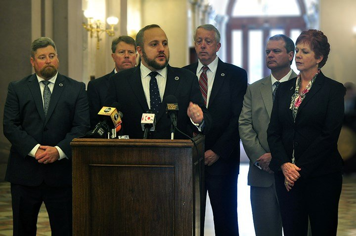 Reps Eric Bendinfield, Chip Huggins, Russel Fry, and Phyllis Henderson spoke at the State House about the importance of combating opioid addiction.