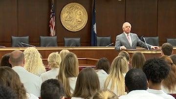 Senator Ronnie W. Cromer spoke with the students on understanding current legislation regarding their practices.
