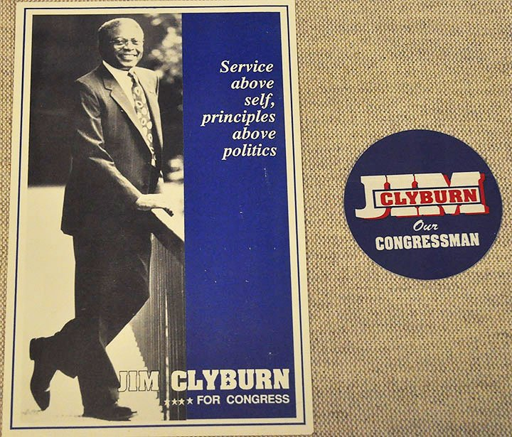 Jim Clyburn has served as the U.S. Representative for the sixth district in South Carolina since 1993. Clyburn organized and was a part of many civil rights marches during his time as a student. Some items from his campaign are pictured above.