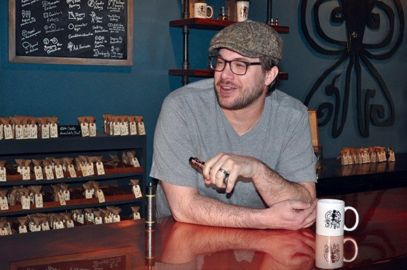 Luke Moore, owner of Whit E. Octopus Vapors, is a graduate of the University of South Carolina Law School in Columbia. Moore renovated the warehouse his shop is located in and built all of the furniture featured in his vape lounge.