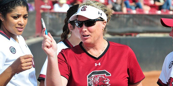 Courtesty South Carolina Media Relations | Head coach Beverly Smith coaches her team pregame. In her seventh season at South Carolina, she says this is the best team she's had.
