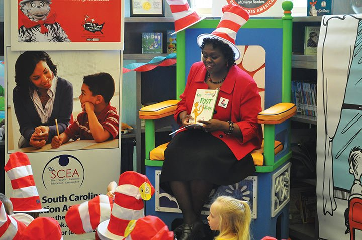 Bernadette Hampton, president of The South Carolina Education Association, read to students and talked to them about their favorite Dr. Seuss books. Students like Dr. Seuss because of the tongue twisters and rhyming.