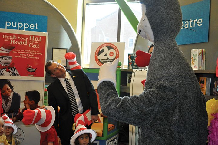 "The Cat in the Hat gave a big thumbs up when Lt. Gov Kevin Bryant asked him: ""Cat in the Hat, do you like green eggs and ham?"""