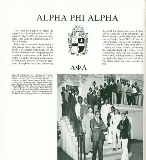 Harriford started the Alpha Phi Alpha chapter at the University of South Carolina in 1973.