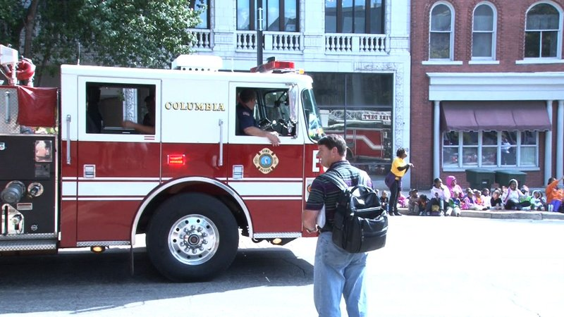 The Columbia Fire Department paraded trucks down Main Street to promote installing fire detectors.