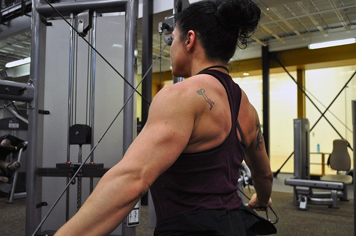 Marina Hoffmann, trainer at MÜV Fitness in Forest Acres and bodybuilder, said one of her favorite workouts is rear cable delt flies, which tones the back and triceps.