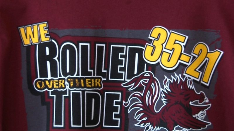 The shirt that Eat More Tees worker created before the big win on last Saturday