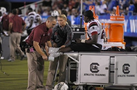 Lattimore sprained his ankle shortly after the second half started.
