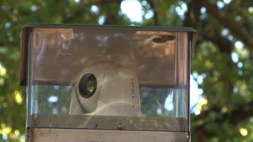 One of the rotating cameras on top of the emergency call box that helps students feel much safer around campus.