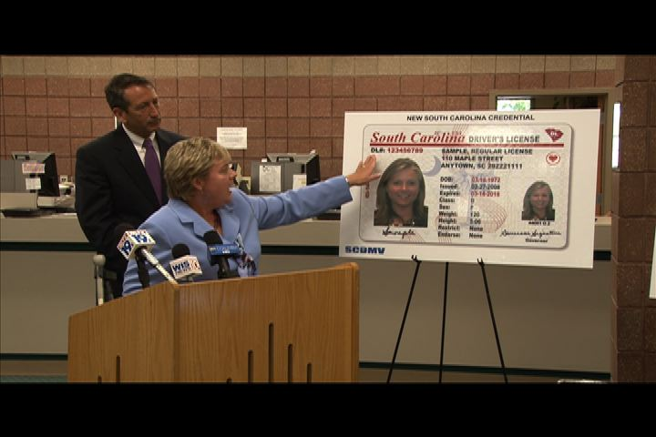 Governor Mark Sanford and head of the Motor Vehicles Department Director Marcia Adams unveiled the new South Carolina driver's license Thursday.